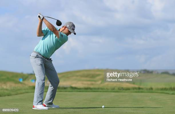 Bernd Wiesberger of Austria plays his shot during a practice round prior to the 2017 US Open at Erin Hills on June 14 2017 in Hartford Wisconsin