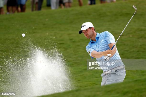 Bernd Wiesberger of Austria plays his shot during a practice round prior to the 2017 PGA Championship at Quail Hollow Club on August 9 2017 in...
