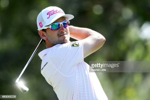 Bernd Wiesberger of Austria plays his shot from the 12th tee during the final round of THE PLAYERS Championship at the Stadium course at TPC Sawgrass...