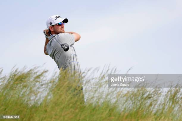 Bernd Wiesberger of Austria plays his shot from the fifth tee during the second round of the 2017 US Open at Erin Hills on June 16 2017 in Hartford...