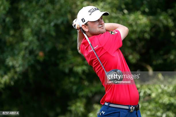 Bernd Wiesberger of Austria plays his shot from the second tee during the first round of the 2017 PGA Championship at Quail Hollow Club on August 10...