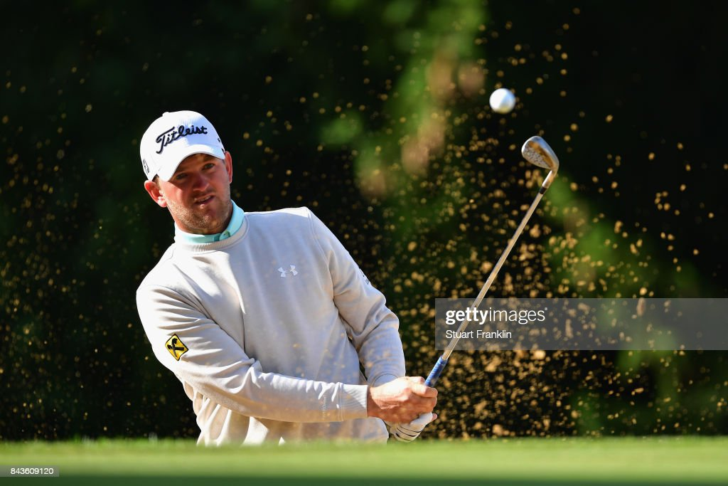 Bernd Wiesberger of Austria plays out of the bunker on the 15th during day one of the 2017 Omega European Masters at Crans-sur-Sierre Golf Club on September 7, 2017 in Crans-Montana, Switzerland.