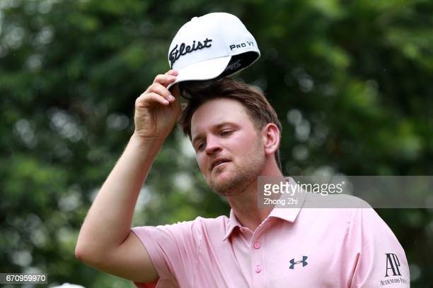Bernd Wiesberger of Austria reacts during the second round of the Shenzhen International at Genzon Golf Club on April 21 2017 in Shenzhen China