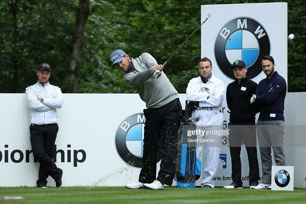 <a gi-track='captionPersonalityLinkClicked' href=/galleries/search?phrase=Bernd+Wiesberger&family=editorial&specificpeople=4025132 ng-click='$event.stopPropagation()'>Bernd Wiesberger</a> of Austria tees off during the Pro-Am prior to the BMW PGA Championship at Wentworth on May 25, 2016 in Virginia Water, England.