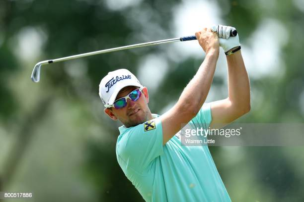 Bernd Wiesberger of Austria tees off on the 2nd hole during day three of the BMW International Open at Golfclub Munchen Eichenried on June 24 2017 in...