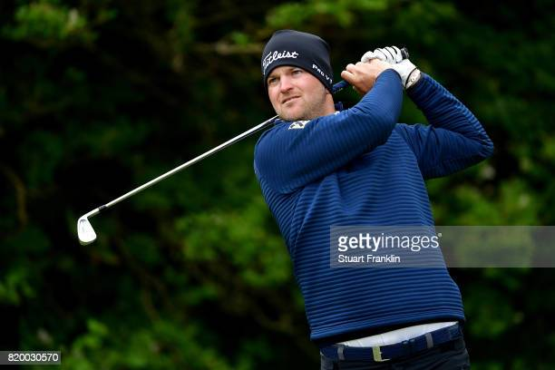 Bernd Wiesberger of Austria tees off on the 5th hole during the second round of the 146th Open Championship at Royal Birkdale on July 21 2017 in...