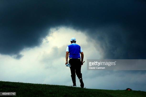 Bernd Wiesberger of Austria walks up the 18th hole during the final round of the 96th PGA Championship at Valhalla Golf Club on August 10 2014 in...