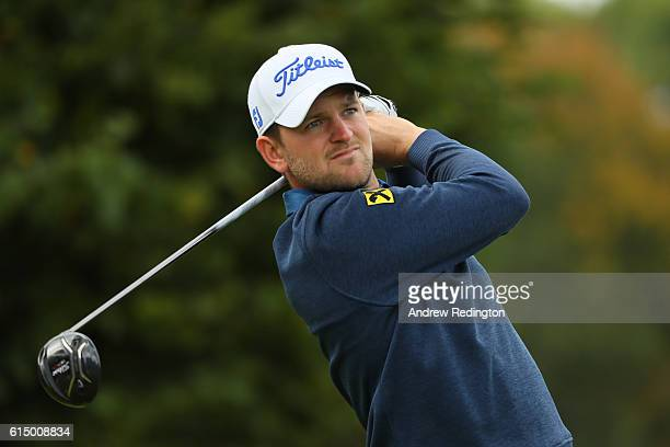 Bernd Wiesberger of Austria watches his tee shot on the third hole during the fourth round of the British Masters at The Grove on October 16 2016 in...