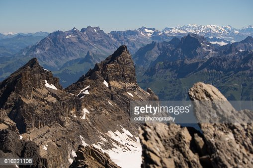 Bernese alps from Dents du Midi : Stock Photo
