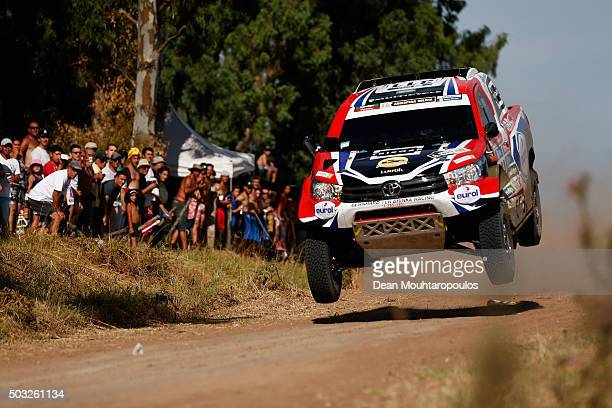 Bernhard Brinke of the Netherlands and Tom Colsoul of Belgium in the TOYOTA HILUX for OVERDRIVE TOYOTA TEN competes in the Dakar Rally Prologue on...