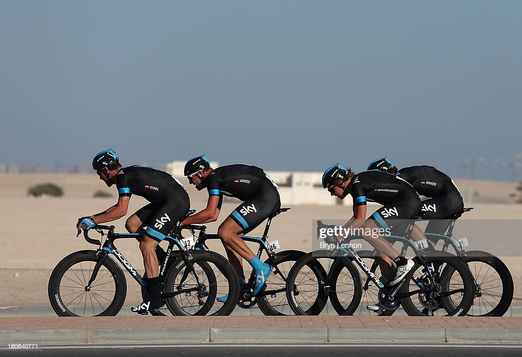 Bernhard Eisel, Ian Stannard, Edvald Boasson Hagen and Luke Rowe of SKY Procycling in action on stage two of the 2013 Tour of Qatar, a 14km Team Time Trial, along Al Rufaa Street on February 4, 2013 in Doha, Qatar.