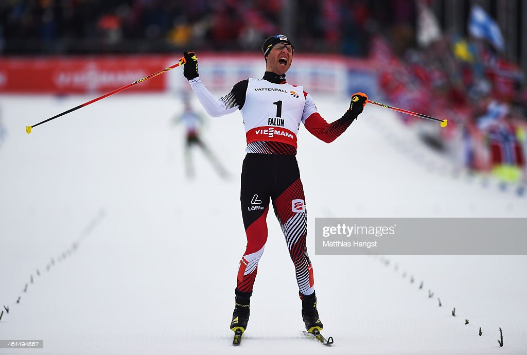 <a gi-track='captionPersonalityLinkClicked' href=/galleries/search?phrase=Bernhard+Gruber&family=editorial&specificpeople=824521 ng-click='$event.stopPropagation()'>Bernhard Gruber</a> of Austria celebrates winning the gold medal in the Men's Nordic Combined 10km Cross-Country during the FIS Nordic World Ski Championships at the Lugnet venue on February 26, 2015 in Falun, Sweden.