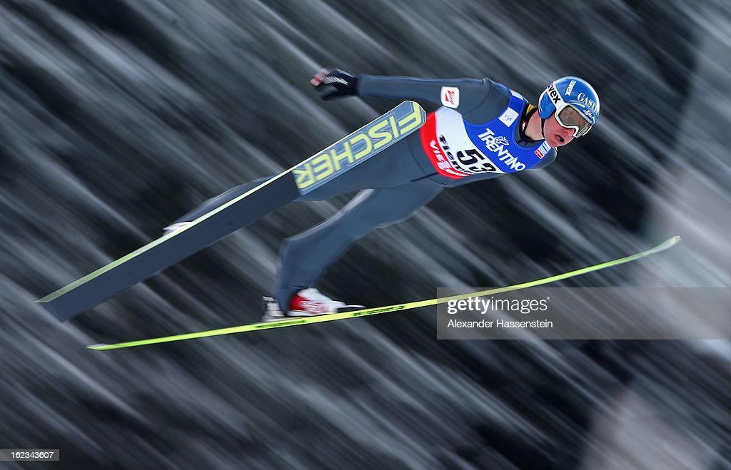 Bernhard Gruber of Austria in action during the Men's Nordic Combined HS106 at the FIS Nordic World Ski Championships on February 22, 2013 in Val di Fiemme, Italy.