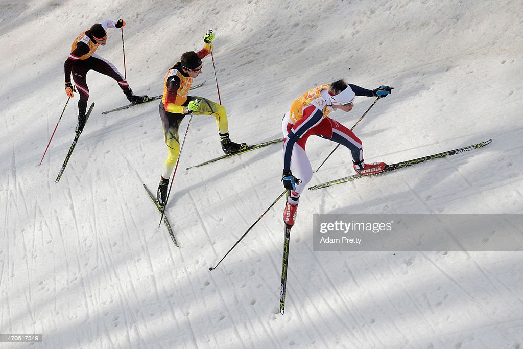 Bernhard Gruber of Austria, Johannes Rydzek of Germany and Magnus Krog of Norway compete in the Nordic Combined Men's Team 4 x 5 km during day 13 of the Sochi 2014 Winter Olympics at RusSki Gorki Jumping Center on February 20, 2014 in Sochi, Russia.