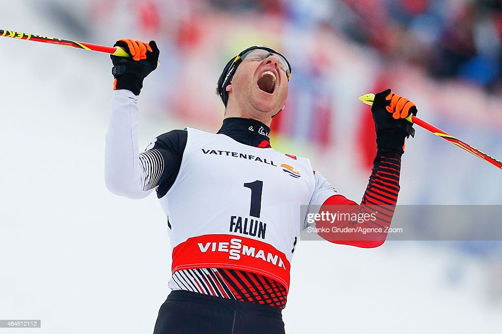 <a gi-track='captionPersonalityLinkClicked' href=/galleries/search?phrase=Bernhard+Gruber&family=editorial&specificpeople=824521 ng-click='$event.stopPropagation()'>Bernhard Gruber</a> of Austria takes 1st place during the FIS Nordic World Ski Championships Men's Nordic Combined HS134/10k on February 26, 2015 in Falun, Sweden.
