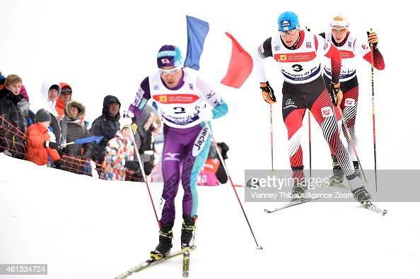 Bernhard Gruber of Austria takes 3rd place during the FIS Nordic Combined World Cup Team Sprint on January 11 2015 in ChauxNeuve France