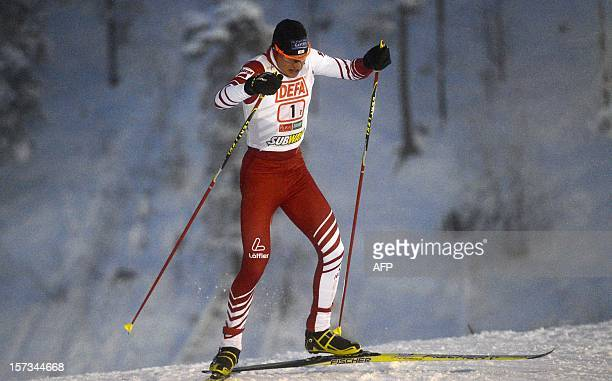 Bernhard Gruber of team Austria I competes to win the Nordic Combined Team Sprint 2 x 75 km competition of the FIS World Cup in Kuusamo Finland on...