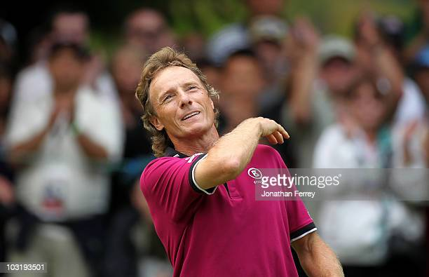 Bernhard Langer celebrates after sinking a par putt on the 18th hole to win the US Senior Open Championship on August 1 2010 at Sahalee Country Club...