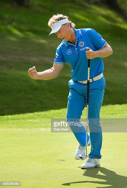 Bernhard Langer celebrates his birdie putt on the 9 hole during the third round of the PGA TOUR Champions Regions Tradition at Greystone Golf Country...