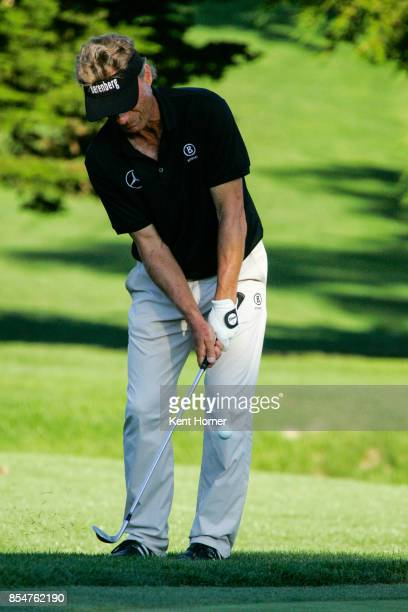 Bernhard Langer chips the ball onto the 16th hole during of the 2nd round of the Champions Tour Pure Insurance Championship on September 23 2017 in...
