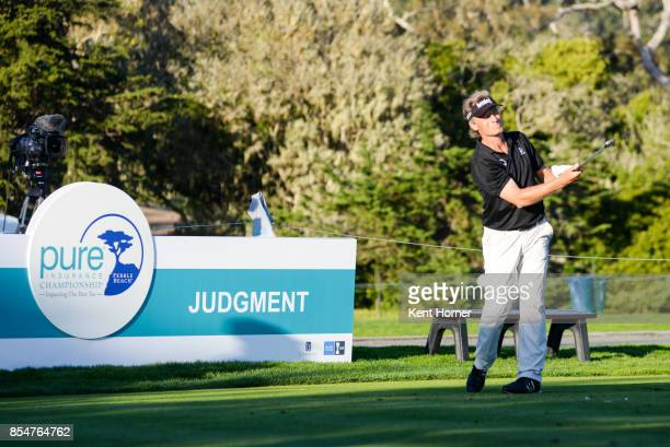 Bernhard Langer drives the ball of the 17th tee during the 2nd round of the Champions Tour Pure Insurance Championship on September 23 2017 in Pebble...
