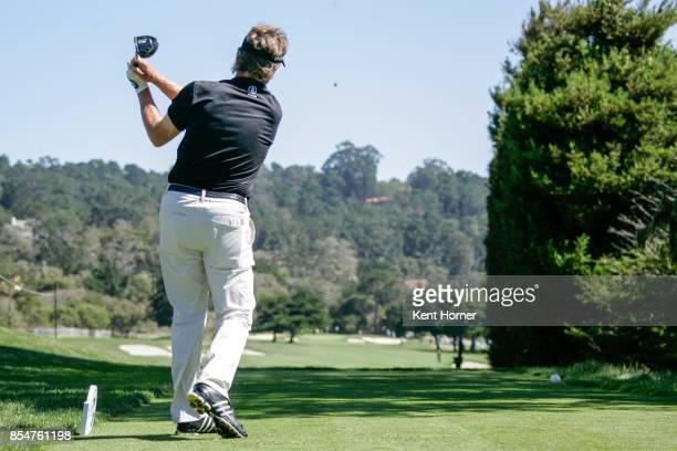Bernhard Langer drives the ball of the 1st tee during the 2nd round of the Champions Tour Pure Insurance Championship on September 23 2017 in Pebble...