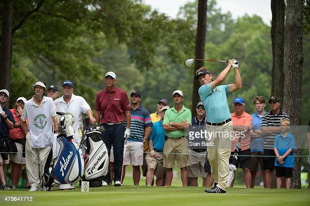 Bernhard Langer hits a drive during the final round of the Champions Tour Regions Tradition at Shoal Creek on May 17 2015 in Shoal Creek Alabama