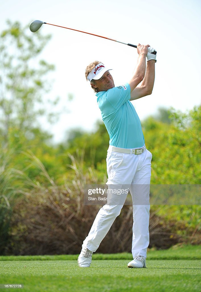 <a gi-track='captionPersonalityLinkClicked' href=/galleries/search?phrase=Bernhard+Langer&family=editorial&specificpeople=167071 ng-click='$event.stopPropagation()'>Bernhard Langer</a> hits a drive on the fourth hole during the second round of the Legends Division at the Liberty Mutual Insurance Legends of Golf at The Westin Savannah Harbor Golf Resort & Spa on April 27, 2013 in Savannah, Georgia.