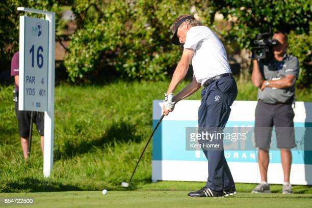 Bernhard Langer hits his ball from the 16th tee during the final round of the Champions Tour Pure Insurance Championship on September 24 2017 in...
