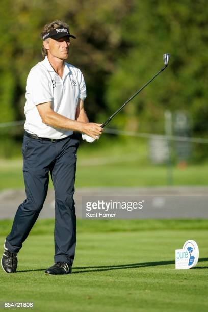 Bernhard Langer hits his ball from the 17th tee during the final round of the Champions Tour Pure Insurance Championship on September 24 2017 in...