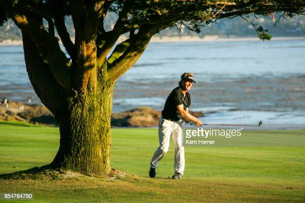 Bernhard Langer hits the ball from the 17th fairway during the 2nd round of the Champions Tour Pure Insurance Championship on September 23 2017 in...