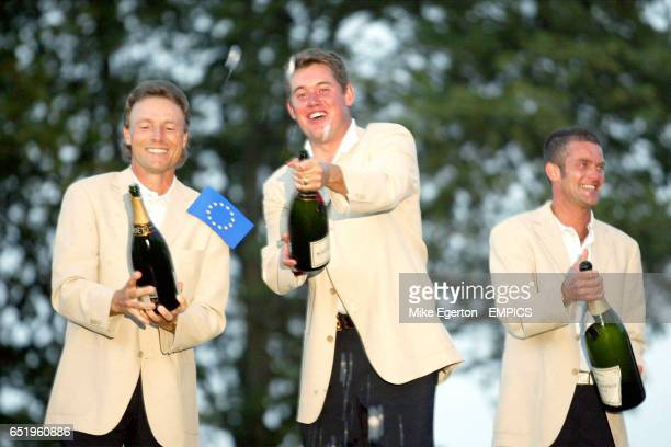 LR Bernhard Langer Lee Westwood and Jesper Parnevik celebrate with champagne on the roof of the Belfry