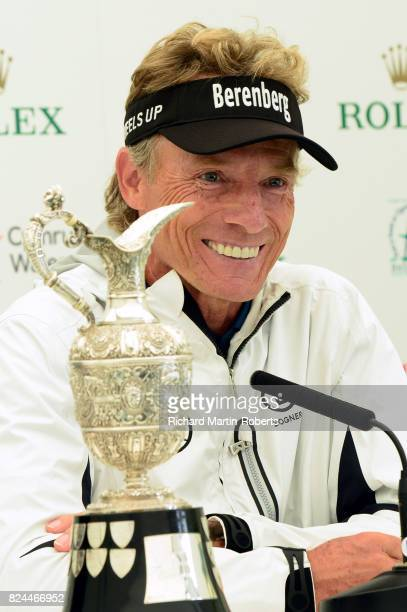 Bernhard Langer of Germany answers questions from the media with the Senior Claret Jug following his victory during the final round of the Senior...