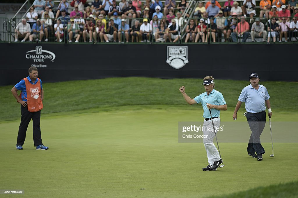 <a gi-track='captionPersonalityLinkClicked' href=/galleries/search?phrase=Bernhard+Langer&family=editorial&specificpeople=167071 ng-click='$event.stopPropagation()'>Bernhard Langer</a> of Germany birdies the 9th hole during the final round of the Champions Tour Dick's Sporting Goods Open at En-Joie Golf Course on August 17, 2014 in Endicott, New York.