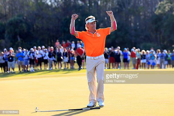 Bernhard Langer of Germany celebrates victory following his final putt on the 18th green in the final round of the 2016 Chubb Classic at the...