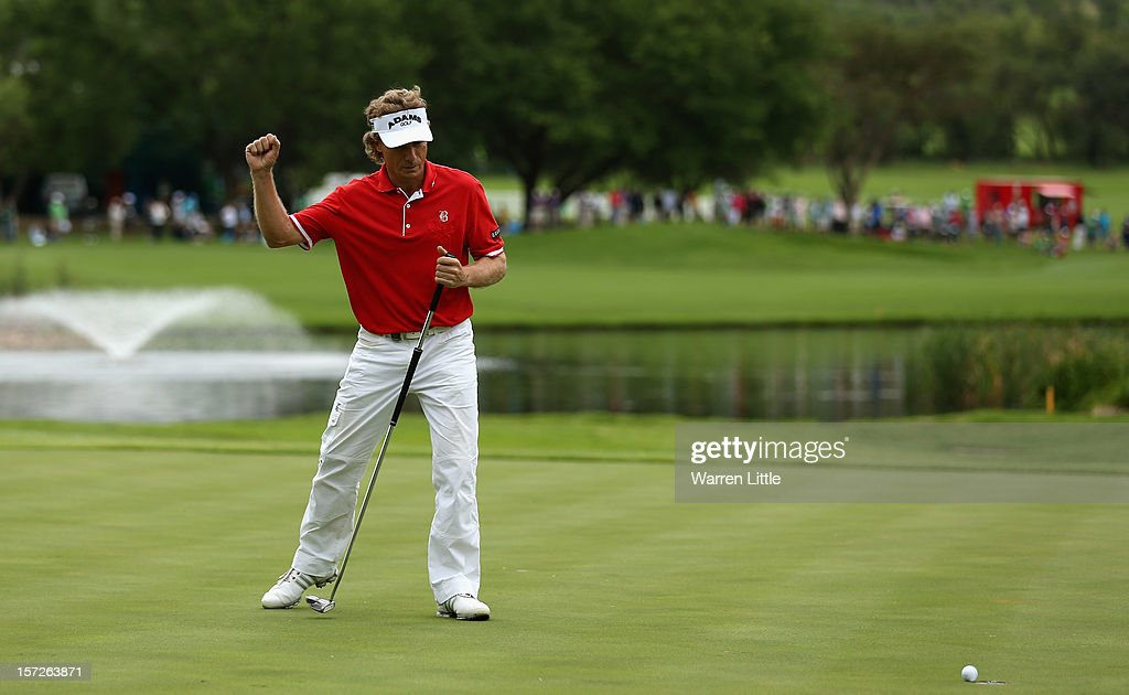 Bernhard Langer of Germany celebrates winning the Nedbank Champions Challenge at the Gary Player Country Club on December 1, 2012 in Sun City, South Africa.