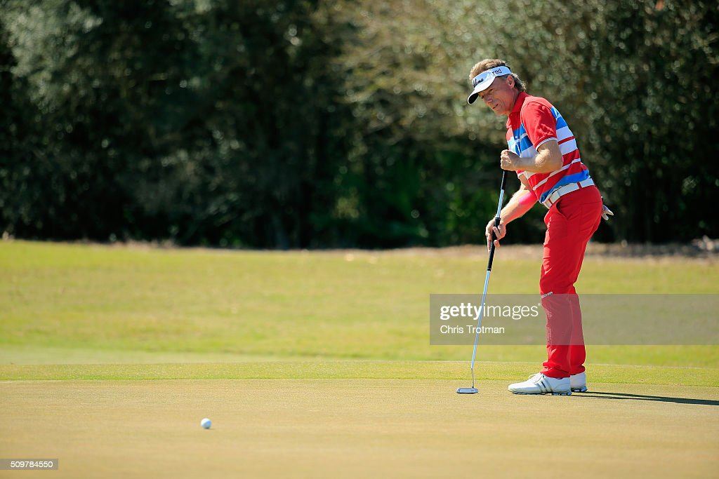 <a gi-track='captionPersonalityLinkClicked' href=/galleries/search?phrase=Bernhard+Langer&family=editorial&specificpeople=167071 ng-click='$event.stopPropagation()'>Bernhard Langer</a> of Germany hits a putt on the 8th hole during the first round of the 2016 Chubb Classic at the TwinEagles Club on February 12, 2016 in Naples, Florida.