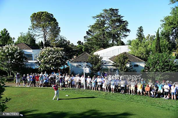 Bernhard Langer of Germany hits a tee shot on the 10th hole during round two of the US Senior Open Championship at the Del Paso Country Club on June...
