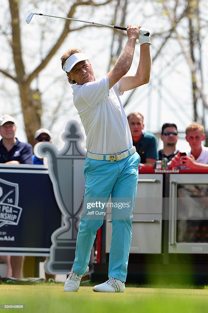Bernhard Langer of Germany hits a tee shot on the 17th hole during the first round 2016 Senior PGA Championship presented by KitchenAid at the Golf Club at Harbor Shores on May 26, 2016 in Benton Harbor, Michigan.