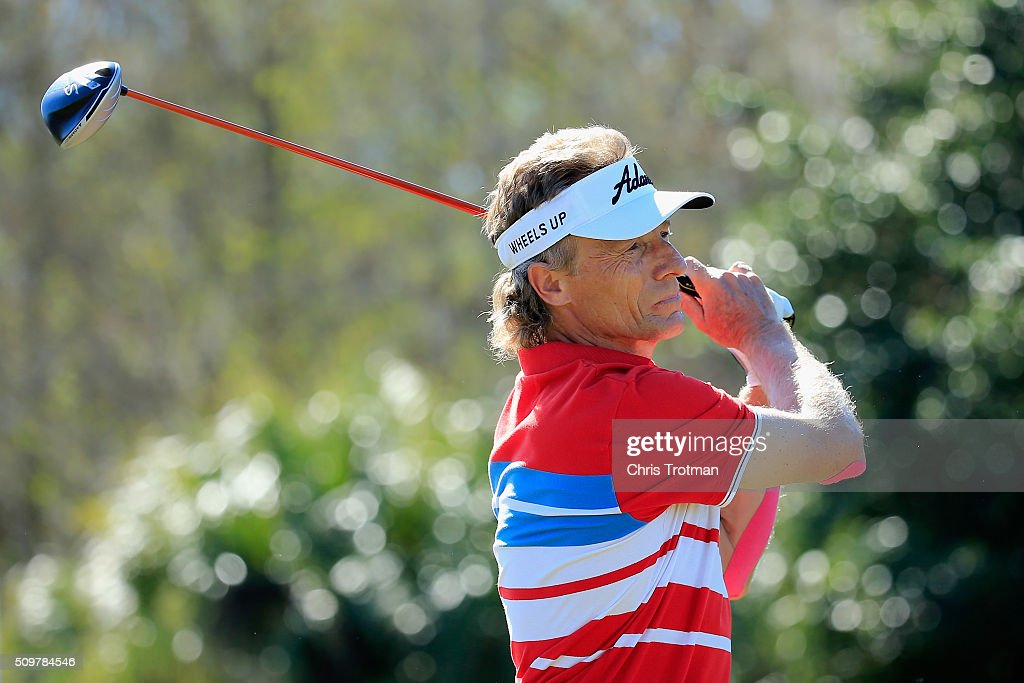 Bernhard Langer of Germany hits a tee shot on the 18th hole during the first round of the 2016 Chubb Classic at the TwinEagles Club on February 12, 2016 in Naples, Florida.