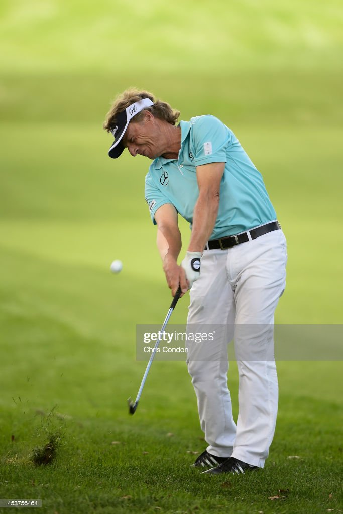 <a gi-track='captionPersonalityLinkClicked' href=/galleries/search?phrase=Bernhard+Langer&family=editorial&specificpeople=167071 ng-click='$event.stopPropagation()'>Bernhard Langer</a> of Germany hits hi second shot on the 5th hole during the final round of the Champions Tour Dick's Sporting Goods Open at En-Joie Golf Course on August 17, 2014 in Endicott, New York.