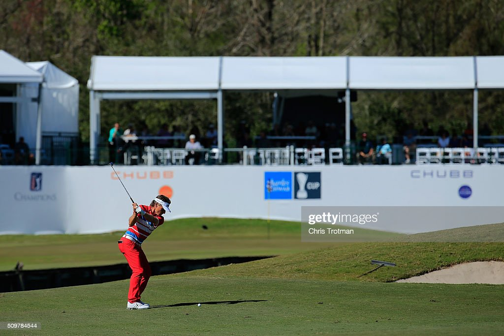 <a gi-track='captionPersonalityLinkClicked' href=/galleries/search?phrase=Bernhard+Langer&family=editorial&specificpeople=167071 ng-click='$event.stopPropagation()'>Bernhard Langer</a> of Germany hits his second shot on the 18th hole during the first round of the 2016 Chubb Classic at the TwinEagles Club on February 12, 2016 in Naples, Florida.