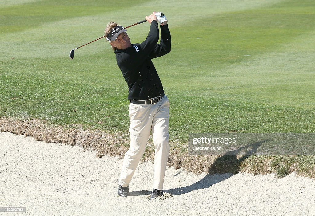 <a gi-track='captionPersonalityLinkClicked' href=/galleries/search?phrase=Bernhard+Langer&family=editorial&specificpeople=167071 ng-click='$event.stopPropagation()'>Bernhard Langer</a> of Germany hits his second shot on the second hole out of bounds durng the second round of the Nature Valley First Tee Open at Pebble Beach at Pebble Beach Golf Links on September 28, 2013 in Pebble Beach, California.