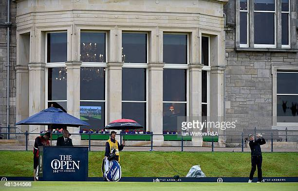 Bernhard Langer of Germany hits his tee shot off the first hole during the final round of the 144th Open Championship at The Old Course on July 20...