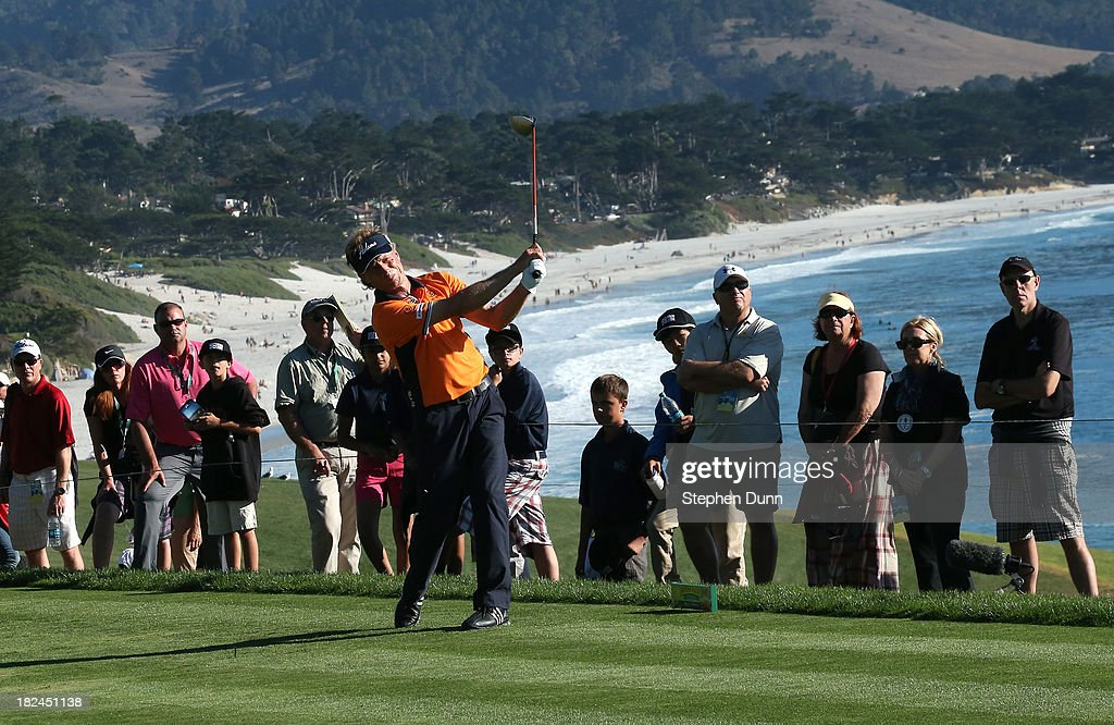 Bernhard Langer of Germany hits his tee shot on the 14th hole durng the final round of the Nature Valley First Tee Open at Pebble Beach at Pebble Beach Golf Links on September 29, 2013 in Pebble Beach, California.