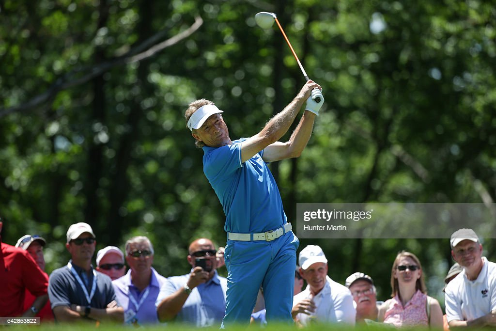 <a gi-track='captionPersonalityLinkClicked' href=/galleries/search?phrase=Bernhard+Langer&family=editorial&specificpeople=167071 ng-click='$event.stopPropagation()'>Bernhard Langer</a> of Germany hits his tee shot on the 15th hole during the first round of the Champions Tour American Family Insurance Championship at University Ridge Golf Course on June 24, 2016 in Madison, Wisconsin.