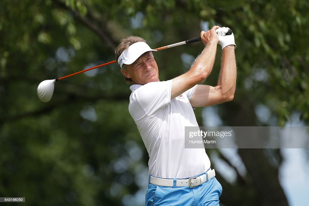 <a gi-track='captionPersonalityLinkClicked' href=/galleries/search?phrase=Bernhard+Langer&family=editorial&specificpeople=167071 ng-click='$event.stopPropagation()'>Bernhard Langer</a> of Germany hits his tee shot on the second hole during the final round of the Champions Tour American Family Insurance Championship at University Ridge Golf Course on June 26, 2016 in Madison, Wisconsin.