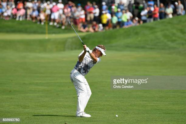 Bernhard Langer of Germany hits to the 9th green during the final round of the PGA TOUR Champions DICK'S Sporting Goods Open at EnJoie Golf Course on...