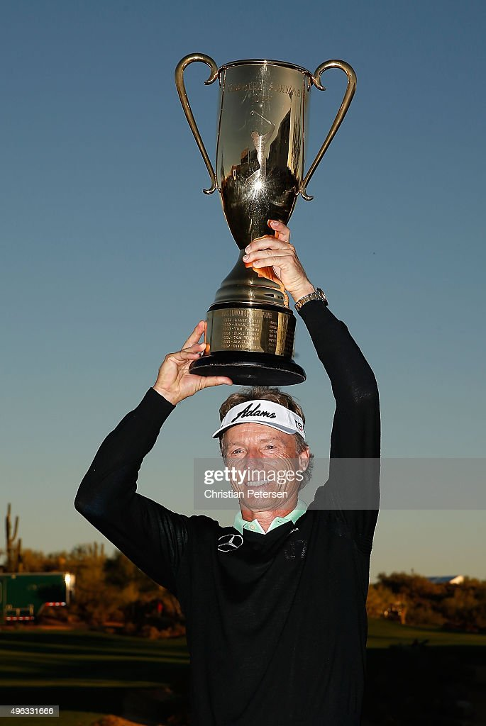 Bernhard Langer of Germany hoists the Charles Schwab Cup following the final round of the Charles Schwab Cup Championship on the Cochise Course at The Desert Mountain Club on November 8, 2015 in Scottsdale, Arizona.