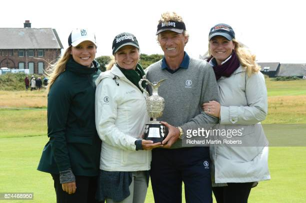 Bernhard Langer of Germany holds the Senior Claret Jug with his wife Vikki Carol and daughters Christina and Jackie following his victory during the...